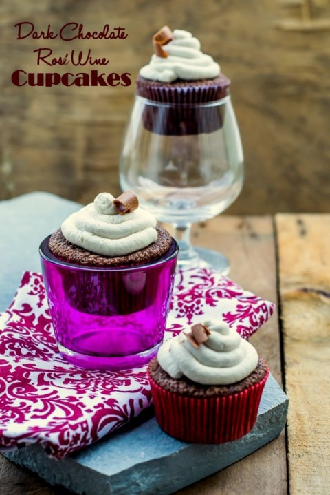 Dark Chocolate & Rosé Wine Cupcakes With Mascarpone Frosting - The ...