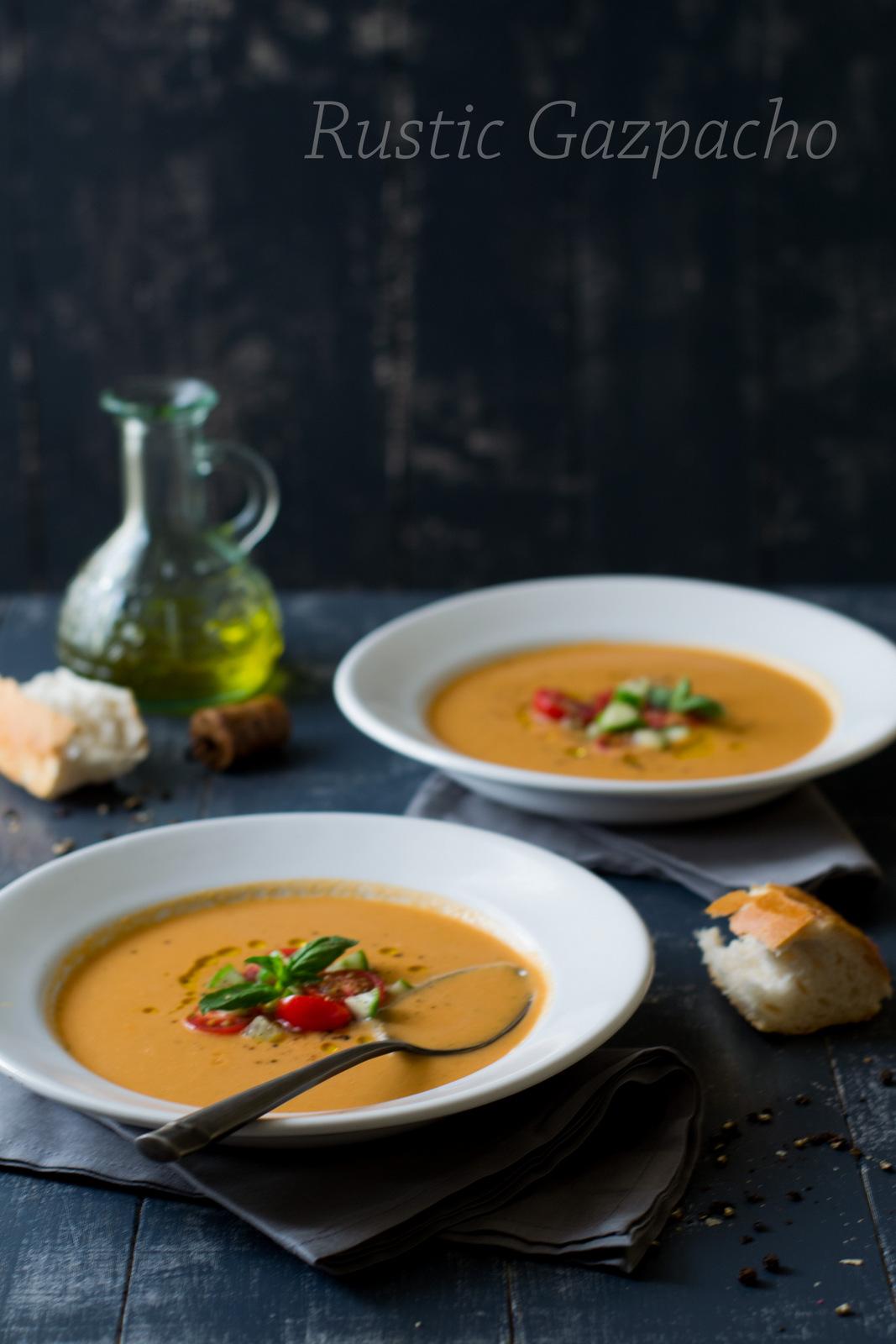Rustic Tomato Gazpacho {Cold Summer Soup} - The White Ramekins