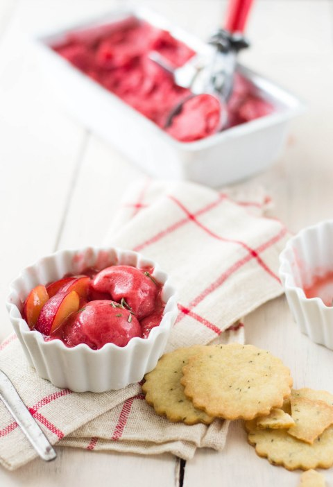 Plum Sorbet With Rosemary Shortbread Cookies 2