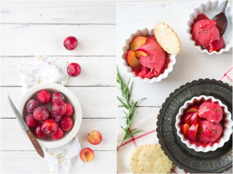 Plum Sorbet With Rosemary Shortbread Cookies 7