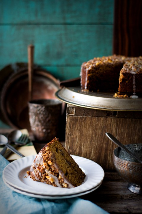 Wholewheat Pumpkin Walnut Struesel Cake