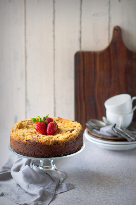 Strawberry Cornmeal Crumb Cake